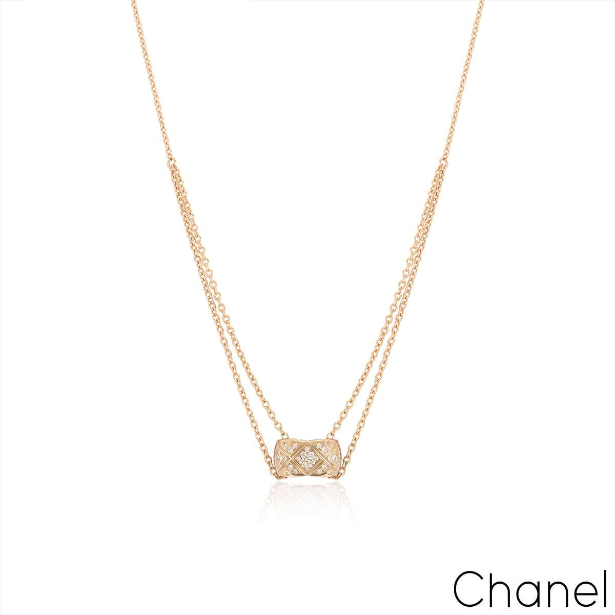 Chanel Beige / Rose Gold Diamond Coco Crush Necklace J11359